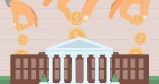 money-being-put-into-for-profit-university-illustration