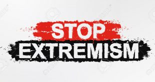 Stop extremism grunge graffiti paint protest sign. Anti terrorism vector slogan concept. Isolated