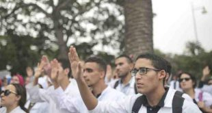 State-employed-medical-workers-demonstrate-outside-the-health-ministry-during-a-one-day-strike-in-Rabat-Morocco-Monday-Oct.-16-2017.